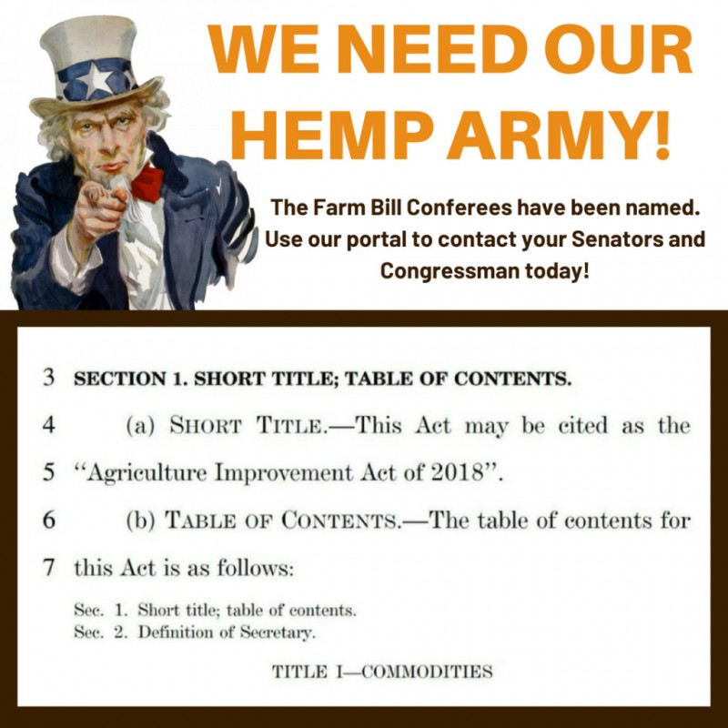 It's On. Farm Bill Conferees Named. Urge them to Support Hemp.